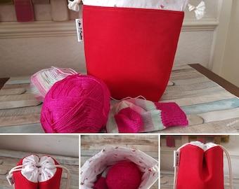 Drawstring Bag - Knitting Project Bag - Sock Sack Bag - Crochet Project Bag - Sewing Bag - Strawberries