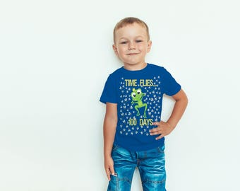 Super Cute 100th Day of School Boy/ Girl Shirt 100 Days For Kids Funny Pun Green Frog Times Flies