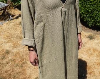 FLAX Linen Oversized Maxi Dress Vintage Light Linen Size Medium