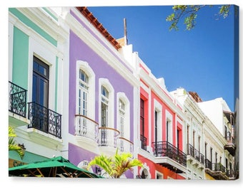 Colorful Houses of Old San Juan Wall Canvas, Puerto Rico, Wall Art, Wall Hanging, Home Decor, Travel, Vacation Photos, Cityscape, Tourism