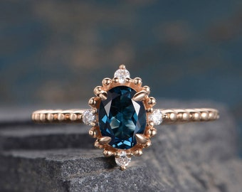 Rose Gold Engagement Ring Halo Diamond Half Eternity London Blue Topaz Oval Cut Anniversary Promise Ring Women Bridal Solid 14K Simple