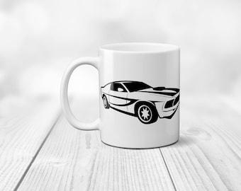 American Sports Car Ford Mustang fan mug, 11 oz auto birthday gift coffee cup, ceramic tea present mug