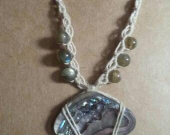 Abalone, labradorite, macrame necklace, bohemian necklace, crystal necklace, micro macrame