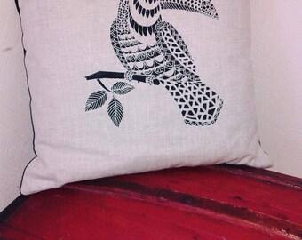 Toucan linen pillow cover