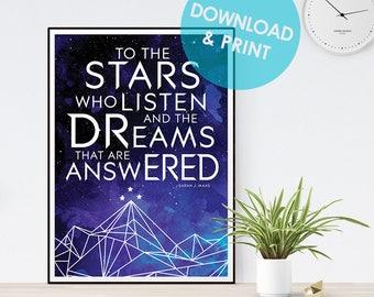 ACOMAF Printable Poster || To the Stars Who, Rhysand, ACOWAR, Mist and Fury, ACOTAR, Sarah J Maas