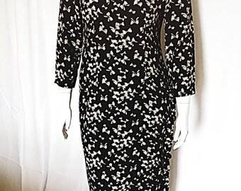 1980s vintage bow-print midi dress / size 14/ plus sized vintage dress