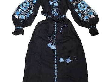 Embroidered Dress Ukrainian Embroidery Ukrainian Clothing Boho Chic Dress Tree of life in black