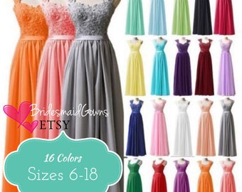 16 Colors} BRIDESMAIDS DRESS Chiffon Corset Long Formal Prom Evening Dress, Ball Gown