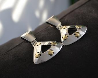 Silver Earrings with Gold cross detail| Push back Earrings| Vtg