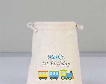 Personalized Birthday Bag with  Colorful Train,  Cotton bags drawstring, Party Decorations , Birthday Party Gift, Children  Gifts