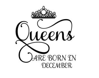Queens are Born in December SVG Crown