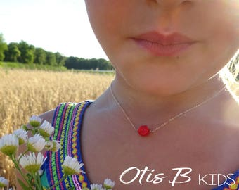 Red Rose Necklace, little girls gift, fairy jewelry, princess necklace, kids jewelry, flower girl gift, Otis B, first day of school gift