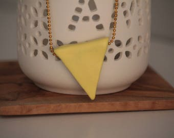 Crew neck, gold ball chain, pale yellow triangle pendant minimalist and graphic polymer clay