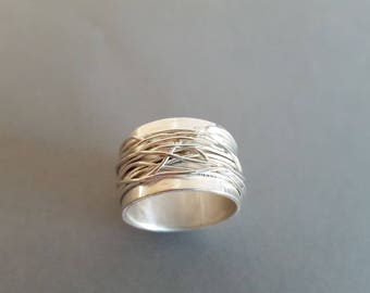 Wide ring silver wrap ring band ring