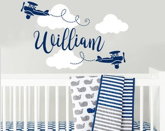 Boy Name Wall Decals Nursery Airplane Wall Sticker Nursery Vinyl Biplane Baby Boy Nursery Decor Plane Name Children Nursery Wall Decal F28