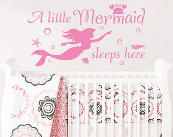 A Little Mermaid Sleeps Here Wall Decal. Wall Vinyl Sticker Decals for Girls Wall Decor. Nursery Wall Decal. Baby Girl Room Decor Art F31