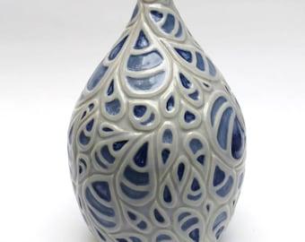 Blue Paisley Stoneware Bottle