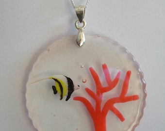 Hanging fish original resin and fine silver chain silver