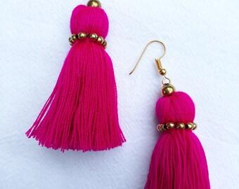 pink earrings, tassel earrings, boho earrings, brass beads earrings, handmade earrings, cotton earrings