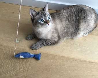 Cat Wand Toy-Fishing Cat Toy-Blue