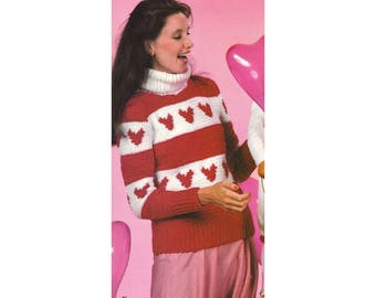 Crochet Pattern - Hearts Pullover - Valentine's Day Sweater