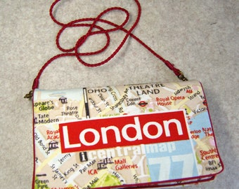 """""""Plan of London"""" printed clutch with detachable shoulder strap bag"""