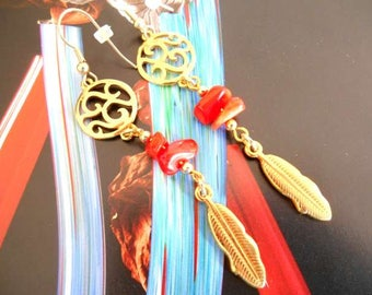 Long Gold feather and coral chips earrings.