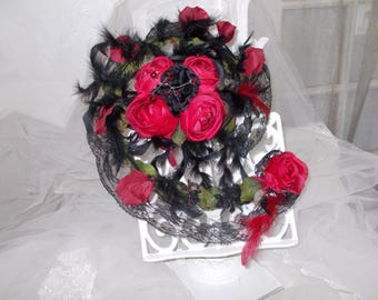 Red and black Gothic wedding bouquet