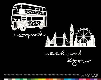 London bus big ben wheel ride scrap scrapbooking cuts Word weekend trip getaway cutting paper die cut embellishment creation