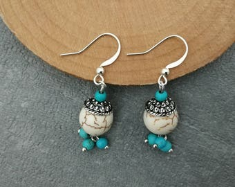 White and turquoise stone earrings ethnic stone and Tibetan Silver earrings