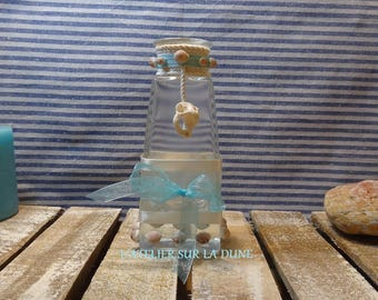Small Vase, rope, shells and Ribbon