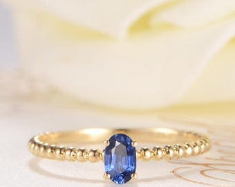 Oval Cut Engagement Ring Blue Sapphire Wedding Bridal Ring Antique Solitaire Gold Ring Eternity Retro Beaded Mini Petite Anniversary Women