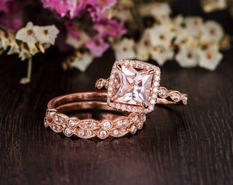 Art Deco Morganite Ring Rose Gold Morganite Engagement Ring Bridal Set Princess Cut Anniversary Diamond Halo Retro Wedding Band Women 3pcs