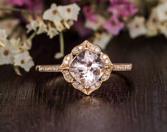 Pink Morganite Engagement Ring Gold Cushion Cut Morganite Ring Antique Diamond Flower Retro Anniversary Gift Women Bridal Wedding Art Deco