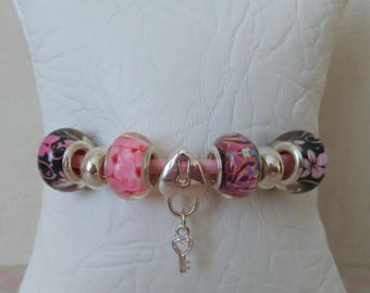 European bracelet beads and leather cord