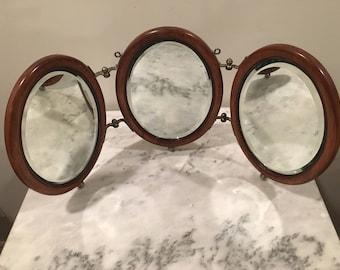 Antique 1900s Tri-Fold Shaving/Vanity Mirror