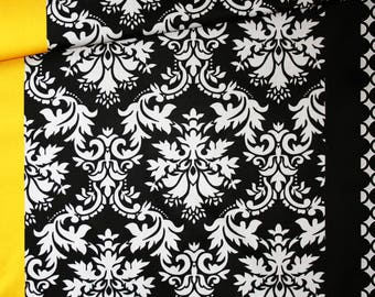 Fabric 5 patterns in 1, 100% cotton printed 50 x 160 cm, black, white, grey and yellow mixed pattern