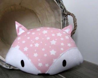 Decorative Fox cushion pink white stars