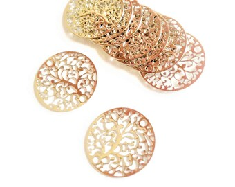Set of 6 prints tree of life gold filigrees, 20mm, thin and lightweight - HD - D4