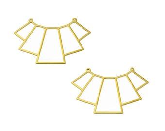 x2 pendentifs géométriques forme éventails en laiton brut or doré - 41mm