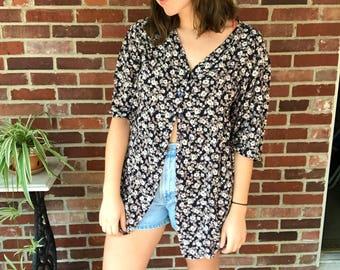 flowy oversized button down navy floral shirt size XXL