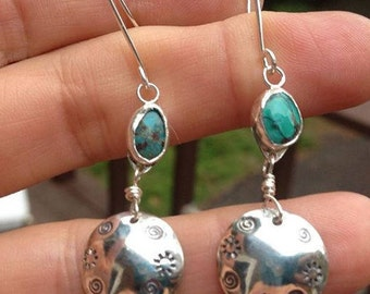 Stamped Sterling Silver and Turquoise Earrings