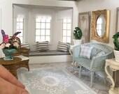 Miniature floor rug - duck egg blue ornate  - Dollhouse - Diorama - Roombox - 1:12 scale