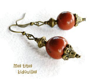 Earrings * stones and BRONZE * red Jasper