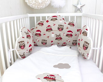 3 cloud pillows, Christmas owls, for a baby's cot, red, beige and white