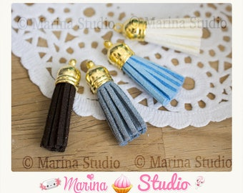 stunning 4 tassels in black, blue, white and blue 3.5 cm and gold tip / gold
