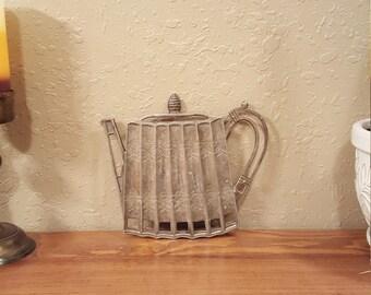 Vintage Godinger silver plated trivet.  Tea kettle shaped trivet.  Vintage silver.