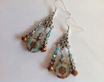 Connector ethnic silver metal tones of blue and Brown Czech glass beads earrings