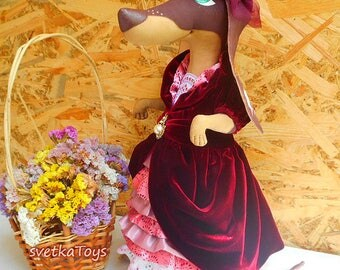 Lady Dachshund, Textile Toy Dog, Interior Doll, Home Decor, Handmade