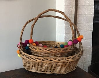EASTER BASKET Gifts Easter Baskets Vintage Baskets Easter Decor Easter Decorations Rustic Decor Farmhouse Style Woven Basket Wicker Basket